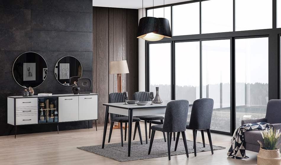 inegöl mobilya Kani Beyaz Yemek Odası Takımı