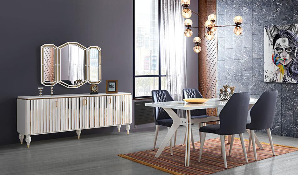 inegöl mobilya Işıltı Yemek Odası Takımı