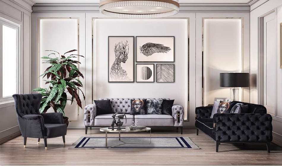 inegöl mobilya Aspendos Gri Koltuk Takımı 3+3+1