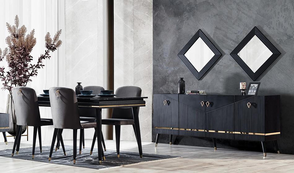 inegöl mobilya Yıldız Siyah Yaşam Odası