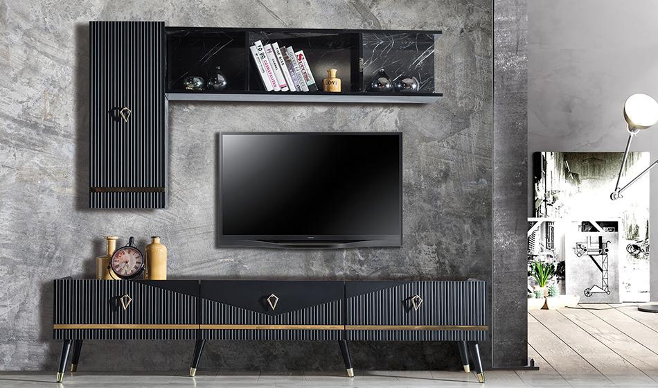 inegöl mobilya Yıldız Siyah Duvar Ünitesi