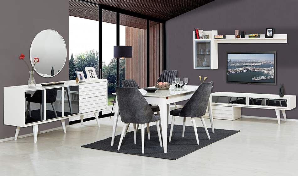 inegöl mobilya Klas Yemek Odası Takımı(Beyaz)