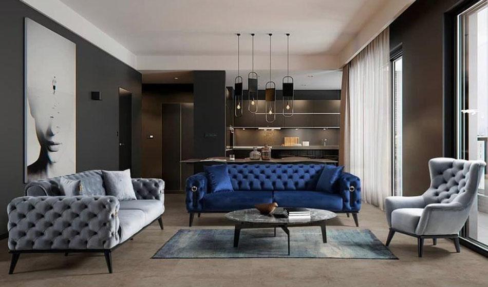 inegöl mobilya Carmen Mavi Koltuk Takımı 3+3+1