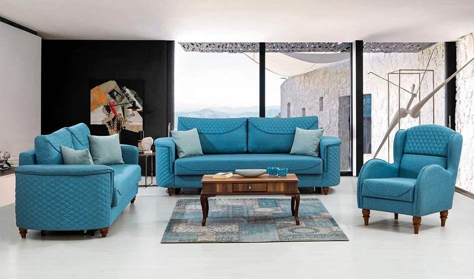 inegöl mobilya Melisa Mavi Koltuk Takımı 3+3+1