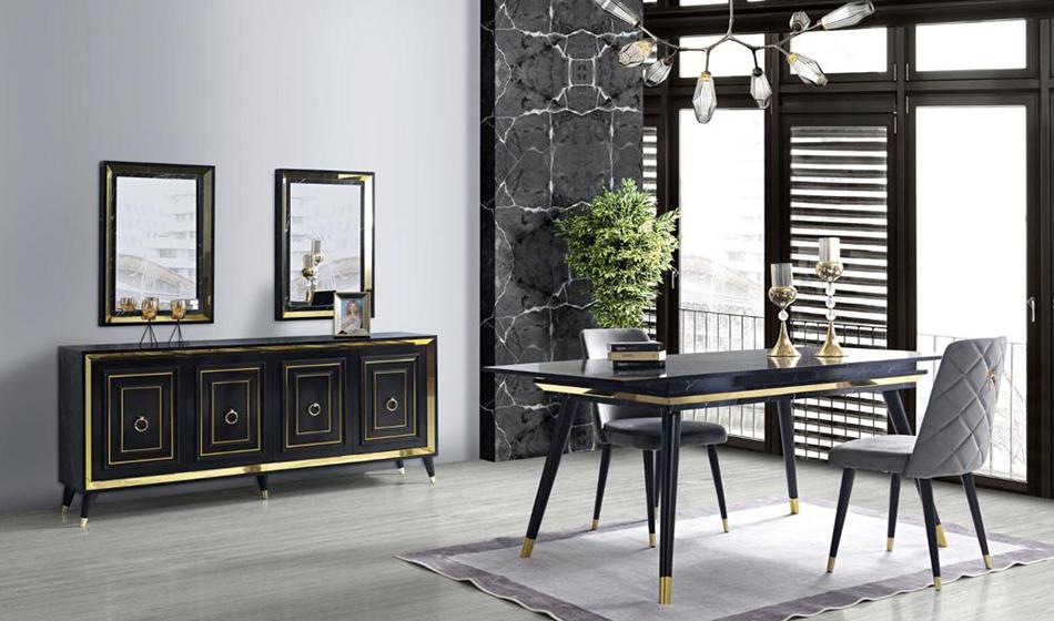 inegöl mobilya Granit Yaşam Odası (Siyah)